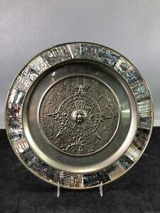 Brass Mesoamerican Design Decorative Plate