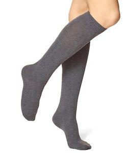 HUE 158040 Women's Graphite Cotton Blend Flat Knit Knee High Socks One Size