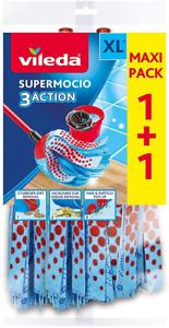 Vileda SuperMocio 3Action Wischmop Ersatzköpfe - Doppel-Vorteilspack