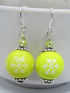 Yellow Acrylic SNOWFLAKE Christmas Silver Dangle Earrings USA HANDMADE