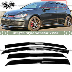 FITS 2015-2019 VW MK7 GOLF 7 WAVY MUGEN STYLE WINDOW VISOR RAIN GUARD DEFLECTOR