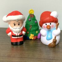 3PCS Fisher Price Little People SNOWMAN & SANTA CLAUS & TREE Figure Xmas Gift