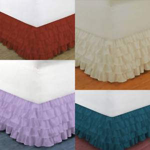 "1PC MODERN SOLID DUST MULTILAYERED BED DRESSING BEDDING SKIRT 18"" DROP GYPSY"