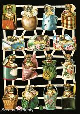Die Cut Scrap German Victorian Style Embossed - Dogs in Containers WOW  EF7342