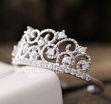 Adjustable Crystal Crown Ring Tiara Princess Stacking ring Bridesmaid bycr12