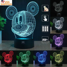Mickey Mouse 3D Acrylic LED Night Light 7 Color Touch  Desk Table Lamp home Gift