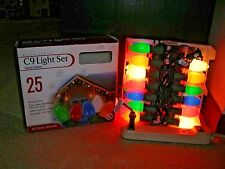 New listing 25 Foot C9 Outdoor/Patio Christmas Light Set - Green Wire - 25 Bulbs - Multi Nos