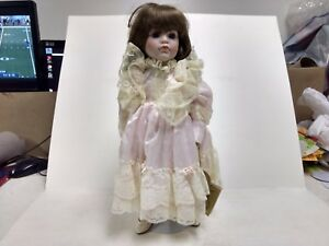 Porcelain Doll The Prestige Collection Diana Pink Satin Lace Dress & Stand ds266