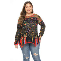 Plus Size Women Long Sleeves Retro Print Asymmetrical Hem Casual T-shirt Tops