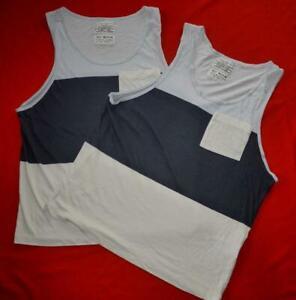 """All Saints """"Hoxton Vest"""" 2x T-Shirt Top Blue Beige (2 items) Size M Medium"""