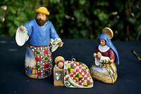 """Jim Shore Nativity Jesus, Mary, & Joseph Holy Family #3 Heartwood Creek to 4.5"""""""