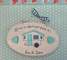 PERSONALISED Trailer Tent Caravan Camping Sign Home is where you park it Plaque