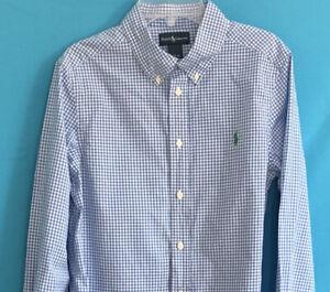 Boys Ralph Lauren Button Down Cotton Shirt Blue White Check Green Pony L 14-16