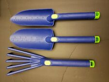 "oGrow 3 Piece Gardening Tool Set: 6"" Trowel, 6"" Scoop, 6"" Cultivator : Blue"