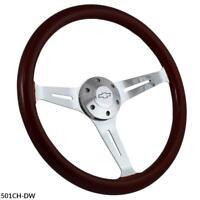 "15""  Steering Wheel Kit, Wood & Billet, Chevy Horn for Aftermarket GM Columns"