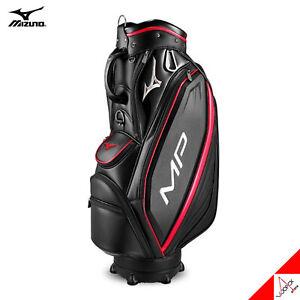 """Mizuno 2020 MP 001 Men Golf Cart Caddie Bag 9"""" 8.2lbs 5Way PU Enamel-Black / Red"""