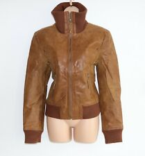 Women's Vintage KAOS By AULUNA Brown 100% Leather Bomber Flying Jacket Coat UK14