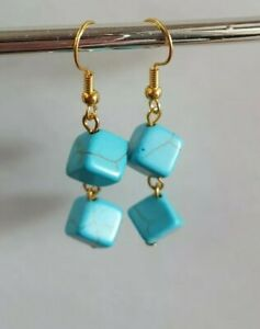 Turquoise Earrings Gold Plated Stunning Unique Cute Drop Dangle Blue Pretty