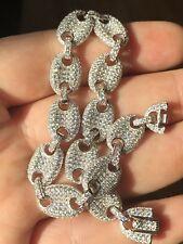 Mens 10mm Gucci Link Bracelet 14k White Gold Solid 925 Sterling Silver Diamond
