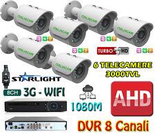KIT VIDEOSORVEGLIANZA VISIONE NOTTURNA A COLORI - DVR + 6 3000MPX + HD SATA