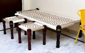 Solid Wood Handmade Rajasthani Bench Indian Charpai Khaat Bench with Stools