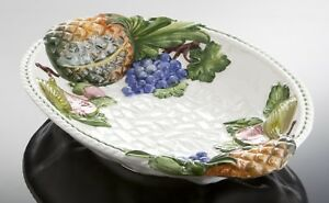 Bassano ovale Obstschale Früchte Ananas Ausgefallene italienische Keramik 39x27