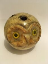 Art Deco-Style Spherical Carved Alabastar or Marble Stone Owl with Eyes