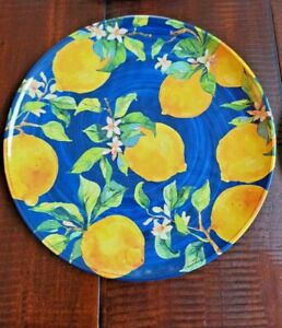 PIER 1 IMPORTS Blue Medallion Lemon Melamine Salad - Luncheon Plates Set of 4