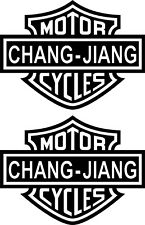 Chang Jiang 2 Aufkleber Bar & Shield Decal Biker Skull (CJ10)