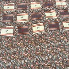 """Brown Floral Quilt Hand Quilted 50"""" x 85"""""""