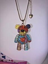 Betsey Johnson Teddy Bear Rainbow Heart necklace Gold Crystal Gift Box Bag