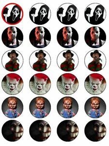 24 X HORROR SAW CHUCKY IT CLOWN SCREAM HALLOWEEN WAFER PAPER CAKE TOPPERS