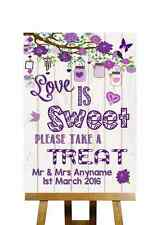 Vintage imitation bois amour est sweet candy buffet Personnalisé Mariage Signe