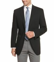 Mens 46L Mens Classic Fit Solid Black Two Button Wool Blazer Suit Jacket