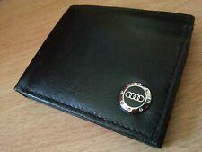 Audi wallet chrome metal badge genuine leather bi-fold uk seller coins cards