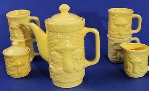Vintage JAPAN Yellow Basket Weave Coffee Pot SUGAR Creamer MUGS - 60's MUSHROOM!