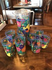 Colorful Plastic Cups And Pitcher Floral Red Yellow Rainbow Kitchen Set