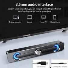 Computer Speaker Bar USB Stereo Subwoofer Bass Surround Sound Box For PC Laptop