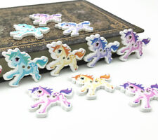Wooden Buttons UNICORNS Decoration Kid's Handicrafts Sewing wood buttons 32mm