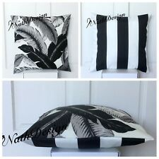 Tommy Bahama Indoor/Outdoor 45cm Black/Grey/White - Palm /Stripes Cushion Cover