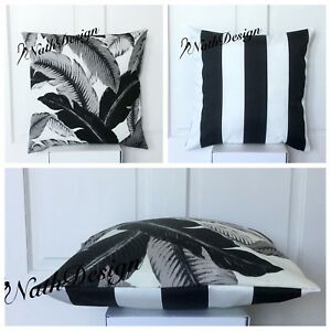 Tommy Bahama Tropical Outdoor 45cm Black/Grey/White Palm /Stripes Cushion Cover