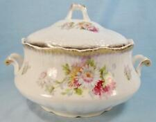 White Pink Yellow Flowers Covered Serving Bowl Tureen Handled Porcelain O As Is