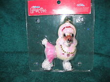 White French Poodle Dog Glass Ornament - Diva Glittery Puppy in Pink Jewels  NEW