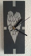 Slate Wall Clock Small Hearts Design - Laser Engraved Face - Quartz Movement