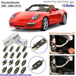 12 Bulbs Deluxe LED Interior Light Kit White For (987) 2005-2012 Porsche Boxster