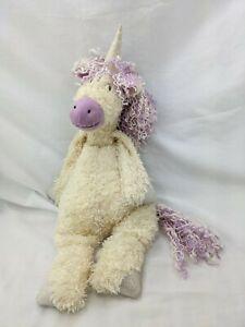 "Jellycat Cream Unicorn Purple Mane Tail Nose Plush 20"" Stuffed Animal Toy"