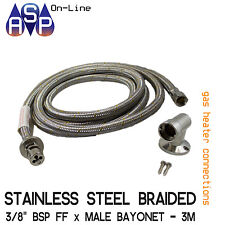 "3M STAINLESS STEEL BRAIDED GAS HOSE 3/8"" SAE X BAYONET COUPLING & FLOOR SOCKET"