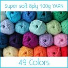 100% Super Soft Crochet Acrylic Ball 100g 8Ply Wool Yarn multi Colour Available
