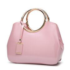 Glossy Women Handbag Ring Handles Hand Patent Leather Messenger Shoulder Bags