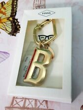NWT FOSSIL Letter B Charm Gold Gift Box Medallion Key Chain Fob Ring Hook